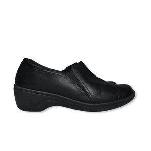 Clarks Slip Resistant Clogs Black Leather Comfort